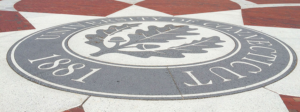 The seal on Fairfield Way on April 29, 2015. (Peter Morenus/UConn Photo)