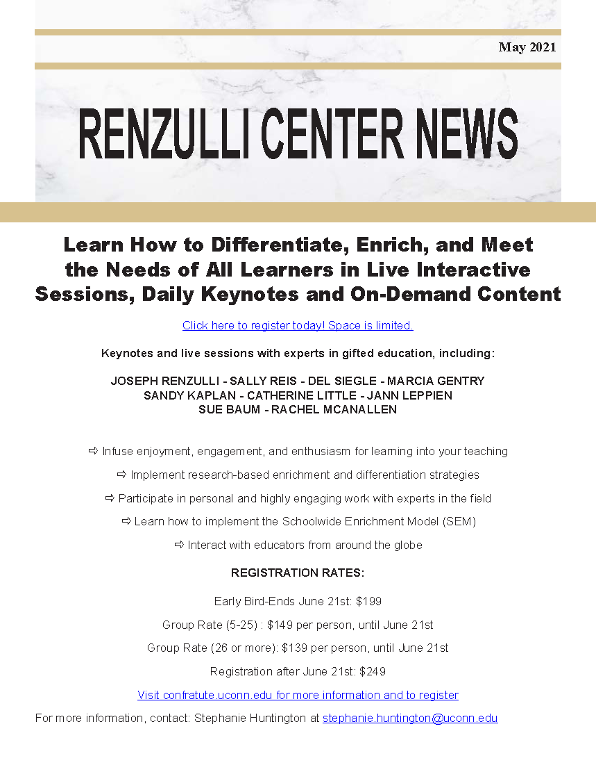 May 2021 Renzulli News Cover Graphic