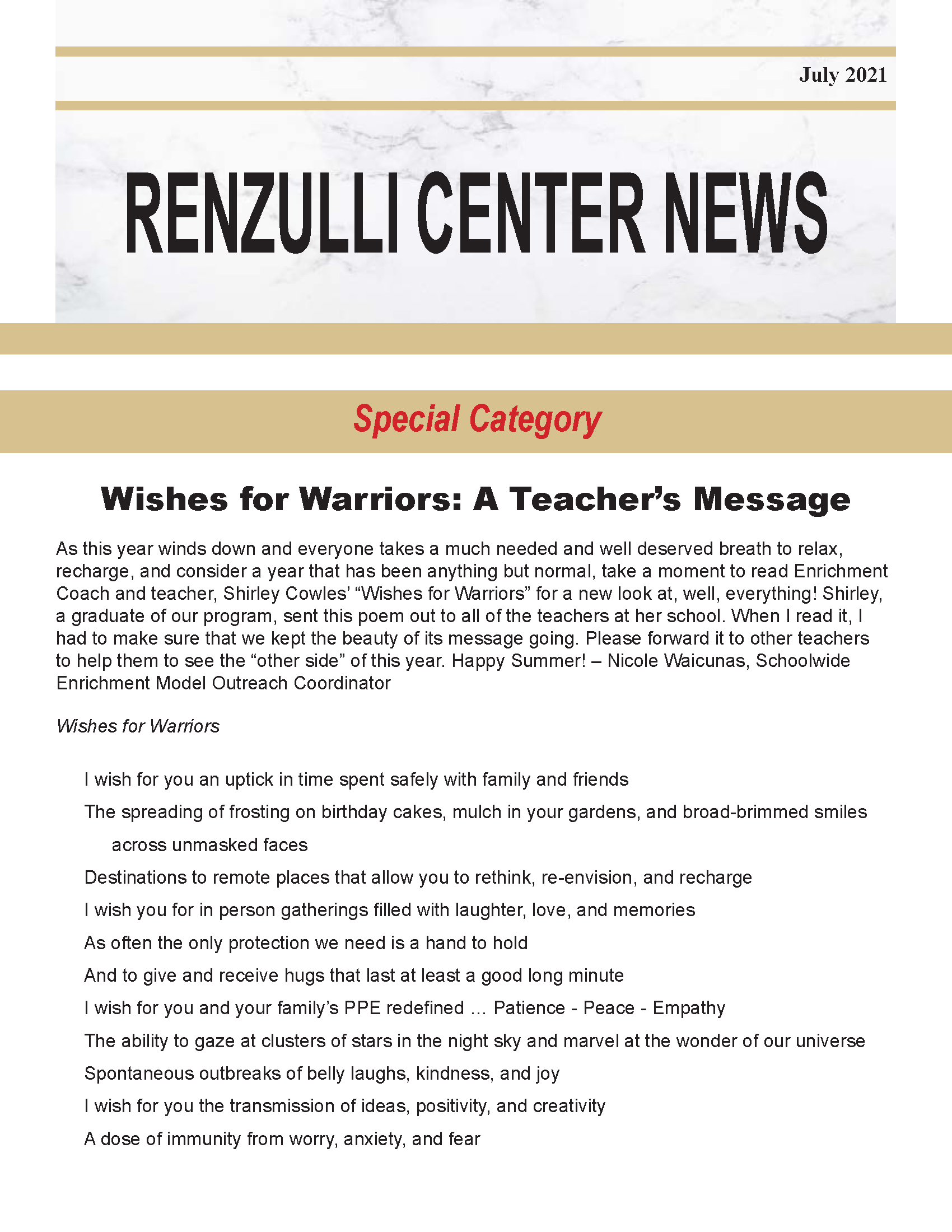 July 2021 Renzulli News Cover Graphic
